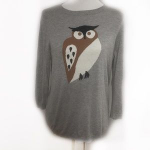 Ann Taylor owl gray sweater SZ L